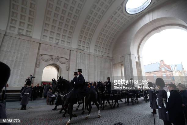 The Kings Troop Horse Artillery prepare to have 70 bags of soil loaded onto one of its gun carriages to be brought back to Wellington Barracks as The...