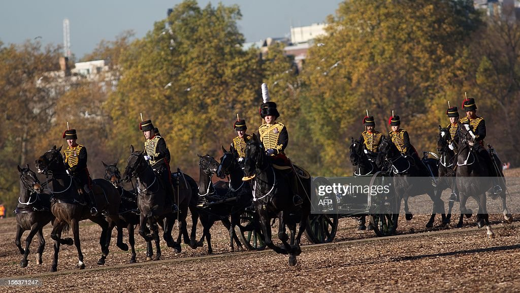 The King's Troop Royal Artillery move into position to performing a 41 gun salute in honour of Prince Charles, The Prince of Wales's 64th birthday in London on November 13, 2012. At 64, Britain's Prince Charles may be getting older and losing his hair, as the Beatles sang, but the future king is also riding a new wave of popularity as he seeks to show his fun side. AFP PHOTO / ANDREW COWIE