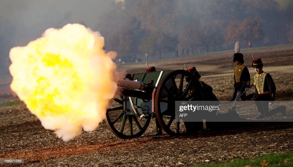 The King's Troop Royal Artillery perform a 41 gun salute in honour of Prince Charles, The Prince of Wales's 64th birthday in London on November 13, 2012. At 64, Britain's Prince Charles may be getting older and losing his hair, as the Beatles sang, but the future king is also riding a new wave of popularity as he seeks to show his fun side.