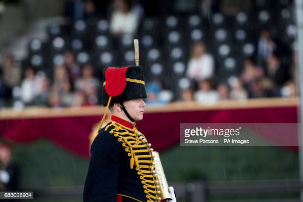 The King's Troop Royal Horse Artillery at the Royal Windsor Horse Show which is held in the grounds of Windsor Castle in Berkshire