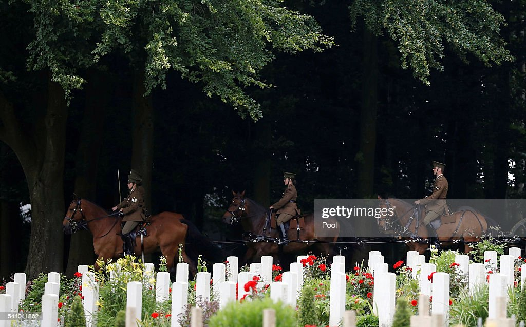 The Kings troop Royal horse artillery attend a commemoration event during the 100th anniversary of the beginning of the Battle of the Somme at the Thiepval memorial to the Missing on July 1, 2016 in Thiepval, France. The event is part of the Commemoration of the Centenary of the Battle of the Somme at the Commonwealth War Graves Commission Thiepval Memorial in Thiepval, France, where 70,000 British and Commonwealth soldiers with no known grave are commemorated.