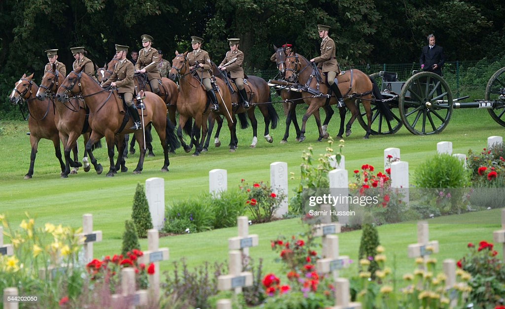 The Kings troop Royal horse artillery attend the commemoration of the Battle of the Somme at the Commonwealth War Graves Commission Thiepval Memorial on July 1, 2016 in Thiepval, France.