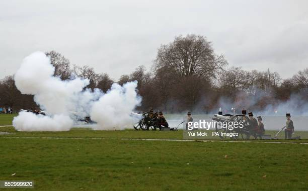 The King's Troop Royal Horse Artillery fire a 41 Royal Gun Salute at noon to mark the Queen's accession to the throne in 1952 in Hyde Park London