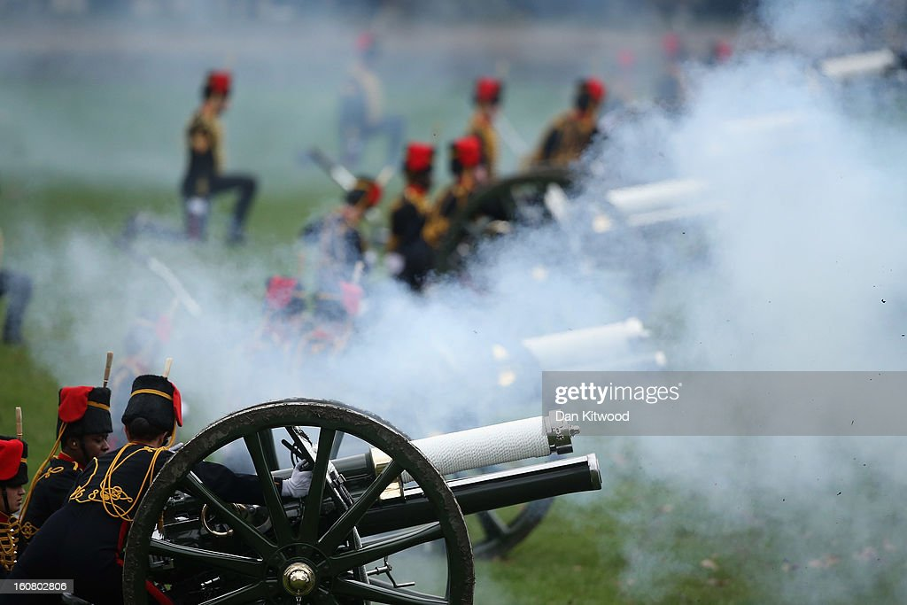 The King's Troop, Royal Horse Artillery fire a 41-gun salute in Green Park on February 6, 2013 in London, England. The salute was to mark the 61st anniversary of the Queen's accession to the throne.