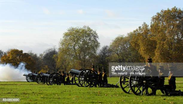 The King's Troop Royal Horse Artillery fire a 41Gun salute in London's Hyde Park to mark the 60th birthday of the Prince of Wales