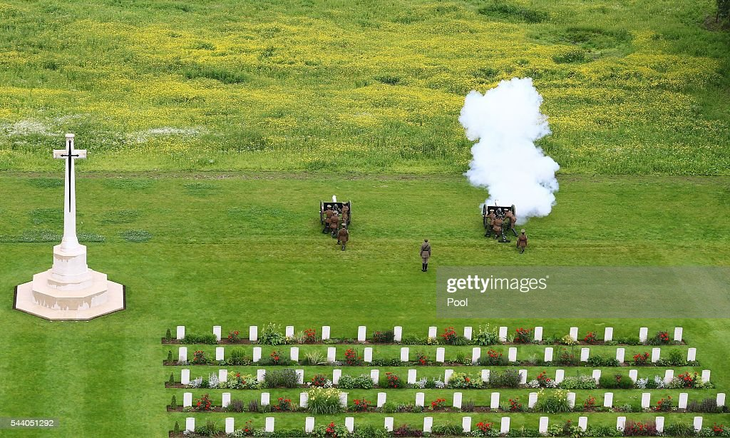 The Kings Troop Royal Horse Artillery fire a gun during a service to mark the 100th anniversary of the start of the battle of the Somme at the Commonwealth War Graves Commission Memorial on July 1, 2016 in Thiepval, France. The event is part of the Commemoration of the Centenary of the Battle of the Somme at the Commonwealth War Graves Commission Thiepval Memorial in Thiepval, France, where 70,000 British and Commonwealth soldiers with no known grave are commemorated.