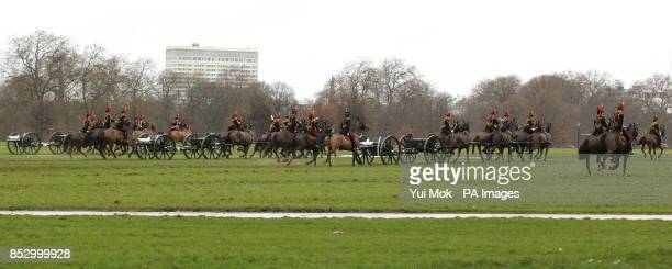 The King's Troop Royal Horse Artillery following the firing of a 41 Royal Gun Salute at noon to mark the Queen's accession to the throne in 1952 in...