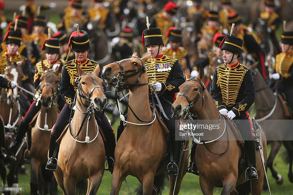 The King's Troop, Royal Horse Artillery gather ahead of a 41-gun salute in Green Park on February 6, 2013 in London, England. The salute was is to mark the 61st anniversary of the Queen's accession to the throne.