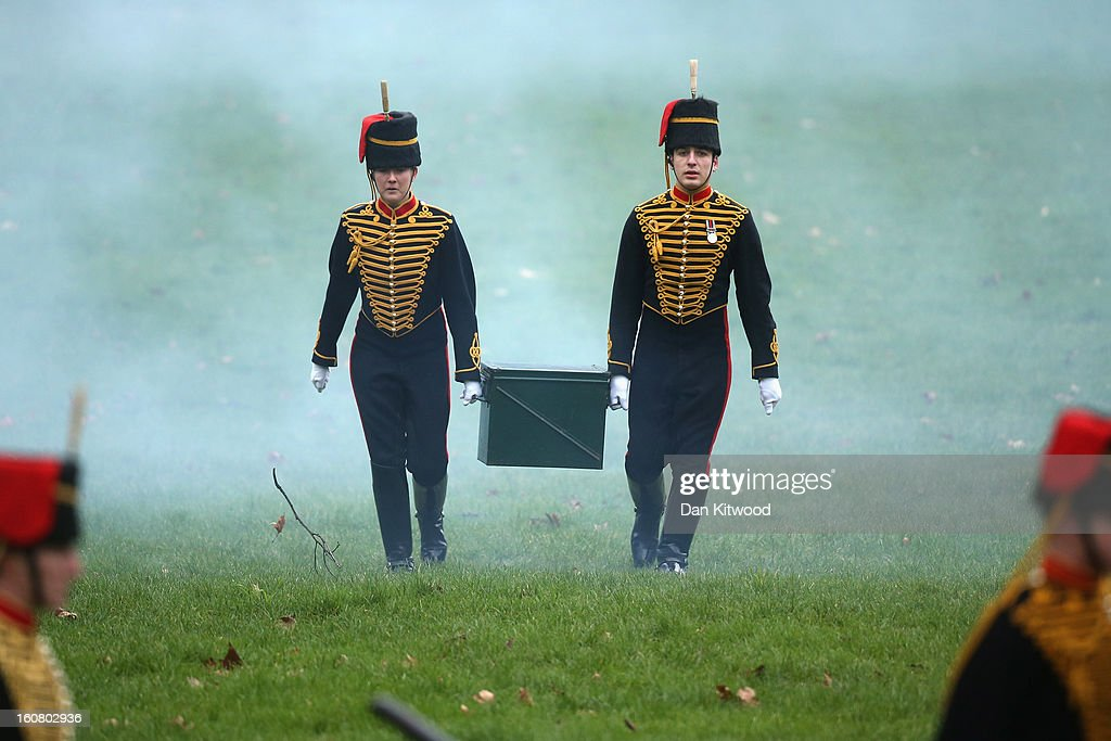 The King's Troop, Royal Horse Artillery gather ahead of a 41-gun salute in Green Park on February 6, 2013 in London, England. The salute is to mark the 61st anniversary of the Queen's accession to the throne.