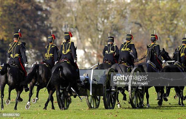 The King's Troop Royal Horse Artillery leave after firing a 41Gun Salute in London's Hyde Park to mark the 60th birthday of the Prince of Wales