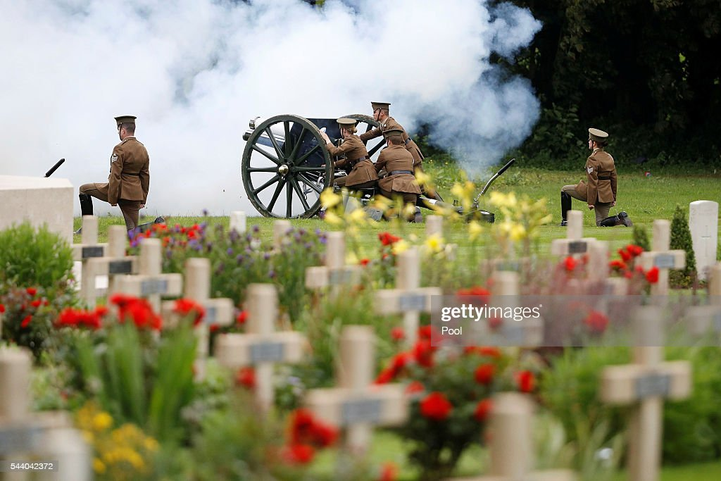 The Kings troop Royal horse artillery light off the canons during the 100th anniversary of the beginning of the Battle of the Somme at the Thiepval memorial to the Missing on July 1, 2016 in Thiepval, France. The event is part of the Commemoration of the Centenary of the Battle of the Somme at the Commonwealth War Graves Commission Thiepval Memorial in Thiepval, France, where 70,000 British and Commonwealth soldiers with no known grave are commemorated.