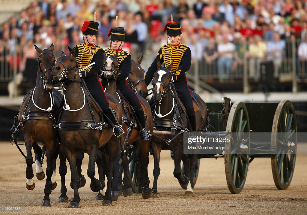 The King's Troop Royal Horse Artillery perform in the Household Division's Beating Retreat, watched by Prince William, Duke of Cambridge on Horse Guards Parade on June 12, 2014 in London, England.