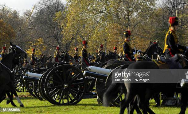 The King's Troop Royal Horse Artillery prepare to fire a 41Gun Salute in London's Hyde Park to mark the 60th birthday of the Prince of Wales