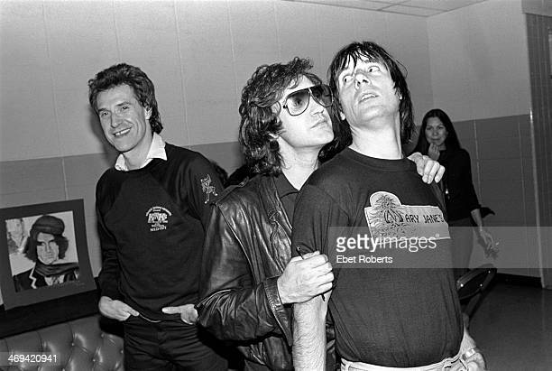 The Kinks backstage at Nassau Coliseum in Uniondale Long Island NY on October 26 1980 LR Ray Davies Dave Davies and Mick Avory