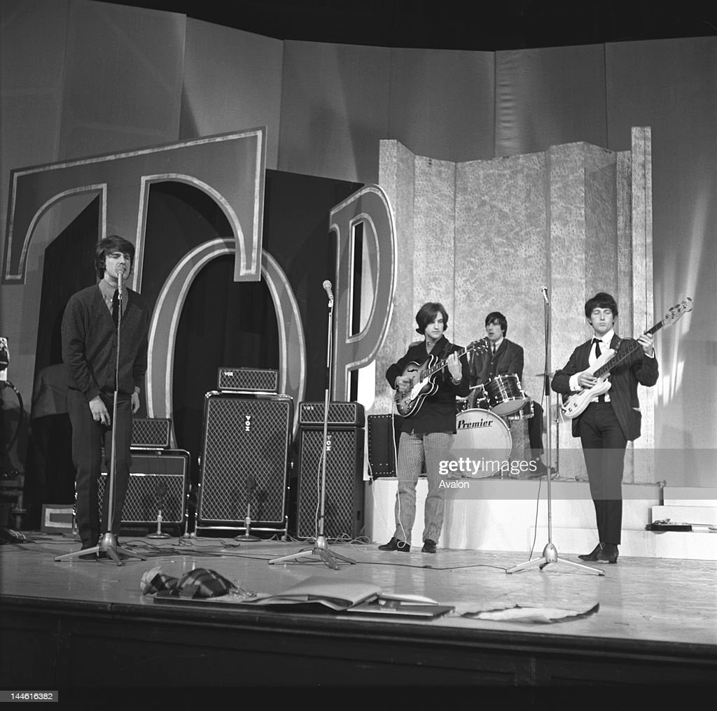 The Kinks (pop group) performing on ' Top of the Pops ' in November 1964.;