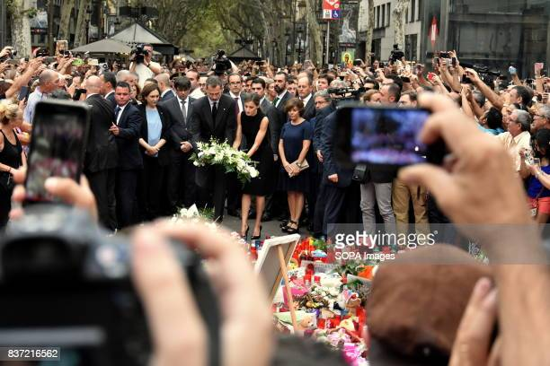 The Kins of Spain Don Felipe VI and Queen Dona Leticia attend a vigil and lay flowers for the victims of the attacks in Barcelona