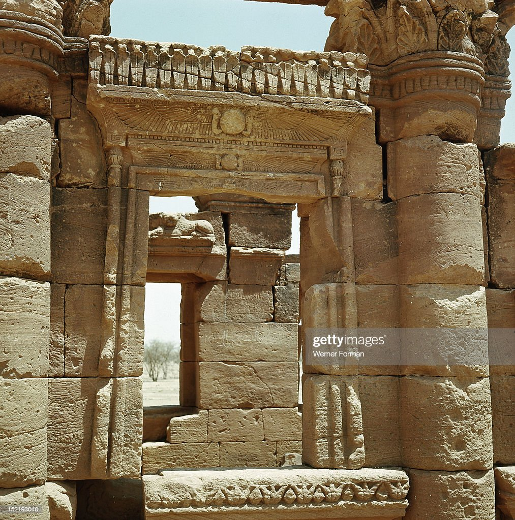 The 'kiosk' or entryway at Naga, part of a Meroitic temple complex, blends local and Graeco-Roman architectural and iconographic features, Sudan. Nubian. circa 300 BC - 100 BC. Naga, Meroe.