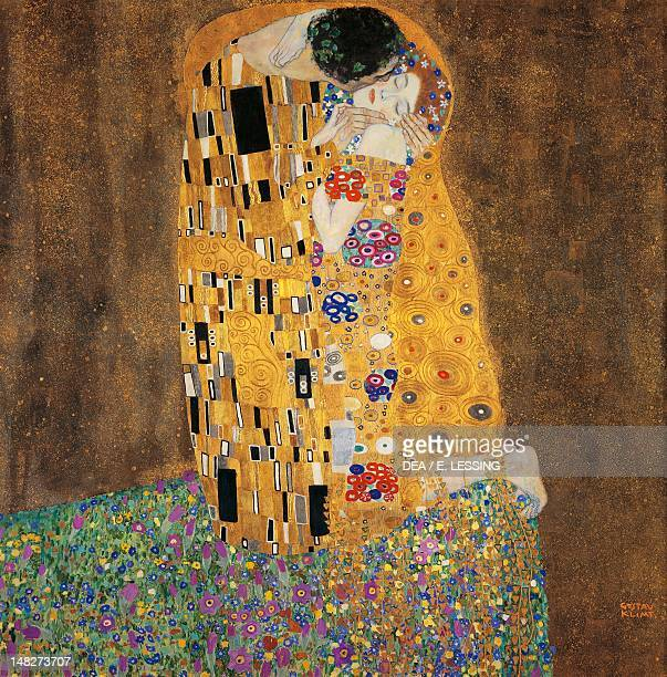 The kiss by Gustav Klimt oil on canvas 180x180 cm Vienna Österreichischer Galerie Belvedere
