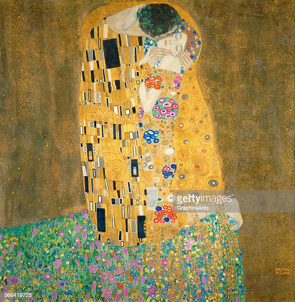 The Kiss by Gustav Klimt oil on canvas 1907 8 From the Osterreichische Galerie Belvedere Vienna