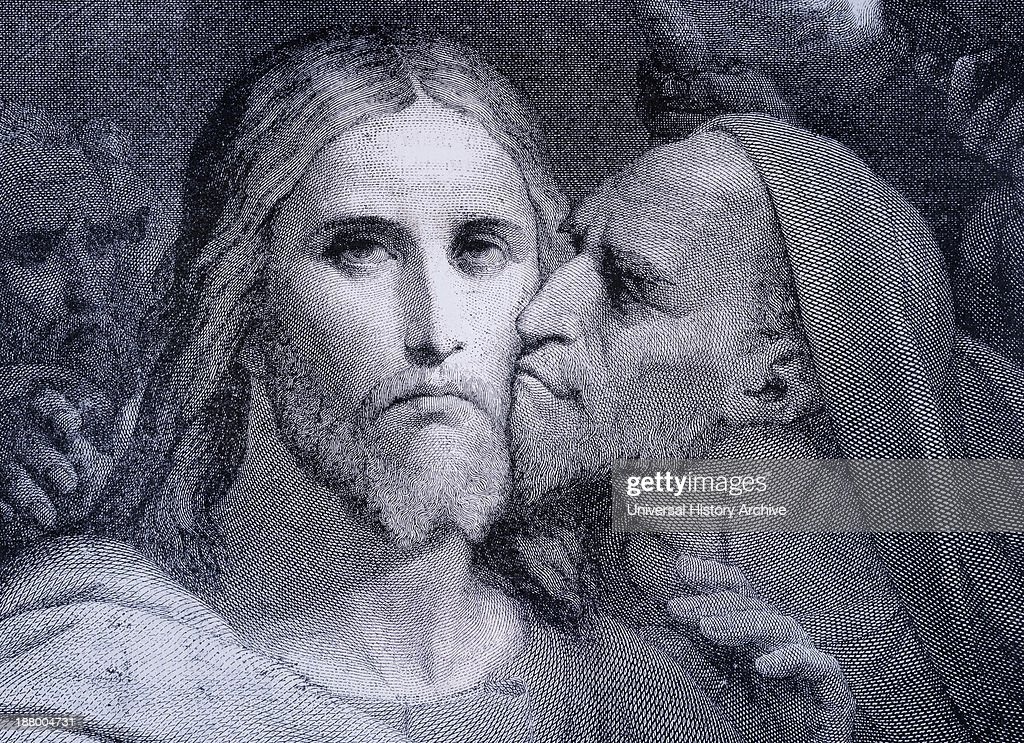 The Kiss. <a gi-track='captionPersonalityLinkClicked' href=/galleries/search?phrase=Judas+Iscariot&family=editorial&specificpeople=78573 ng-click='$event.stopPropagation()'>Judas Iscariot</a> Kisses <a gi-track='captionPersonalityLinkClicked' href=/galleries/search?phrase=Jesus+Christ&family=editorial&specificpeople=75454 ng-click='$event.stopPropagation()'>Jesus Christ</a> In The Garden Of Gethsemane. From El Mundo Ilustrado, Published Barcelona, Circa 1880.