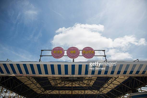 The Kiss Me Quick Caterpillar ride at Dreamland amusement park on June 18 2015 in Margate England Dreamland is considered to be the oldestsurviving...