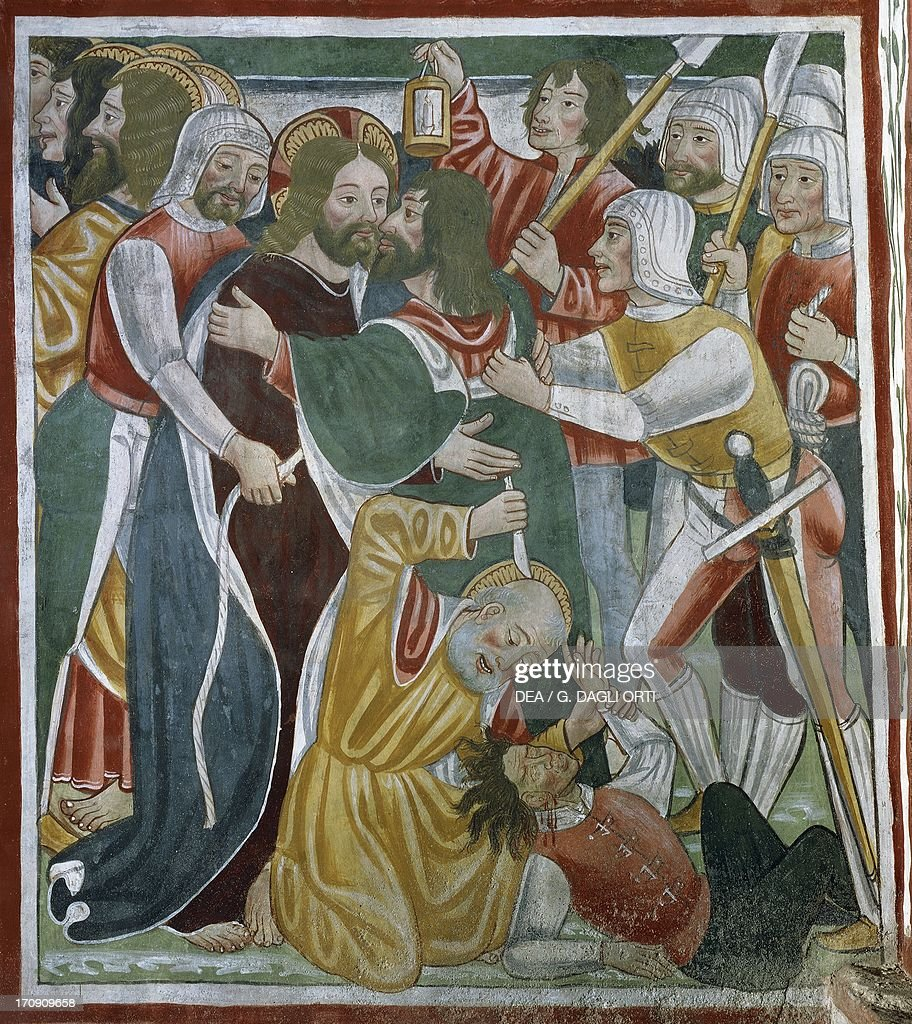 The kiss of Judas, 15th-16th century, detail from the Biblia Pauperum (Paupers' Bible), fresco attributed to Cagnola or Cagnoli Workshop, Church of the Most Holy Trinity, Momo, Piedmont, Italy.