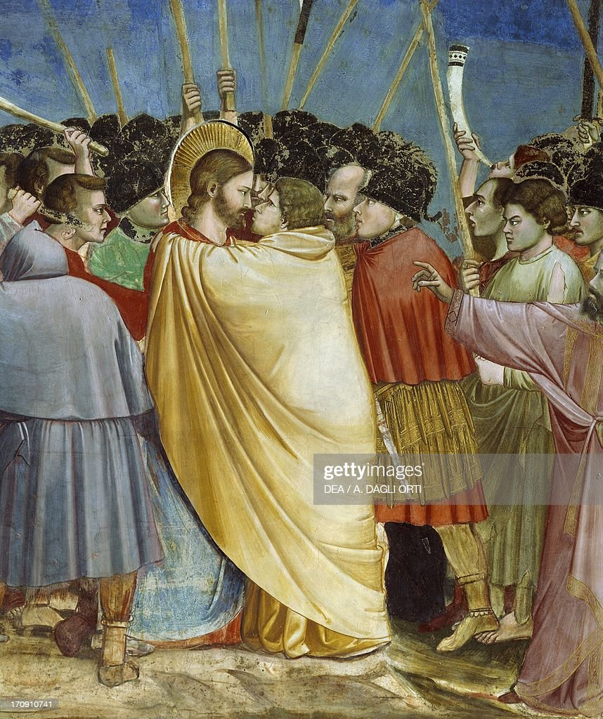 The kiss of Judas, by Giotto (1267-1337), detail from the cycle of frescoes Life and Passion of Christ, 1303-1305, after the restoration in 2002, Scrovegni Chapel, Padua, Veneto, Italy.