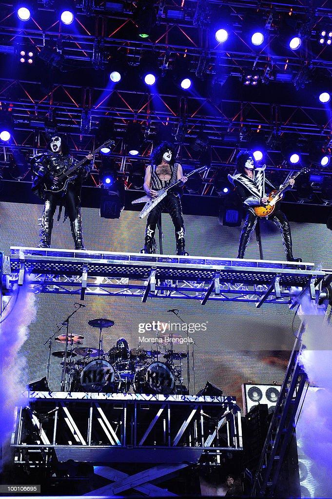 The Kiss perform at Mediolanum Forum on May 18, 2010 in Milan, Italy.
