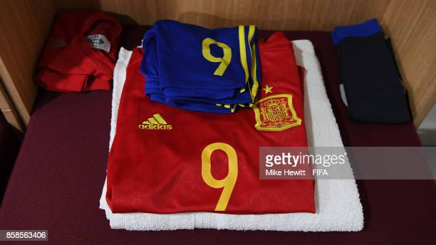 The kit for Spain captain Abel Ruiz is laid out in the changing room ahead of the FIFA U17 World Cup India 2017 group D match between Brazil and...