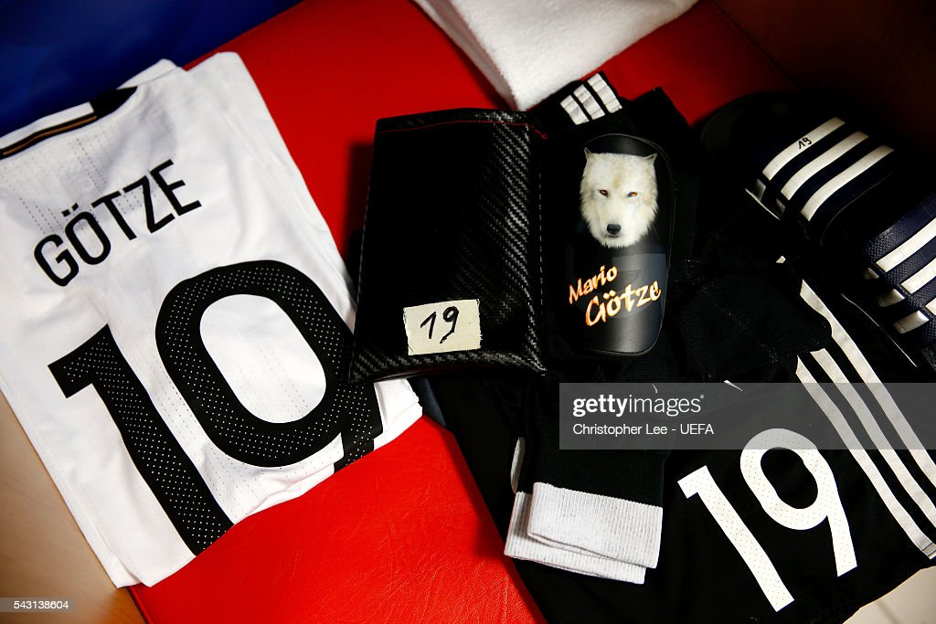 The kit worn by Mario Goetze of Germany are seen in the dressing room prior to the UEFA EURO 2016 round of 16 match between Germany and Slovakia at Stade Pierre-Mauroy on June 26, 2016 in Lille, France.