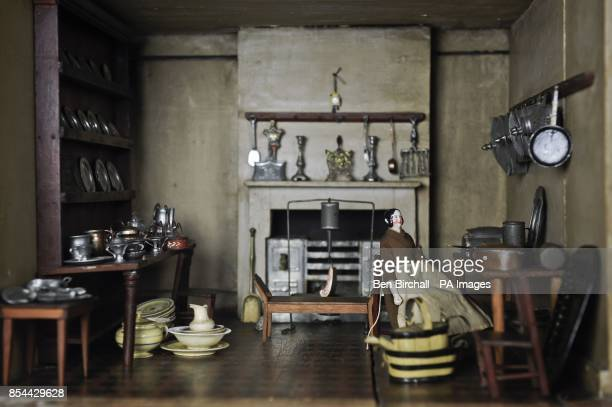 The kitchen in a Victorian doll's house which is to be auctioned at Chorley's in Gloucestershire on 28 November 2013