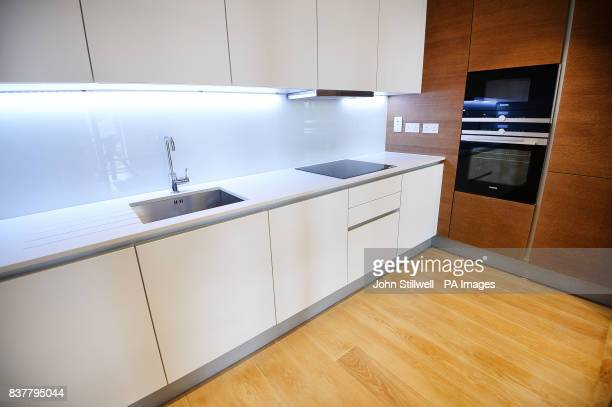 The kitchen of a two bedroom flat in Chelsea west London which will be offered to Grenfell survivors as permanent housing
