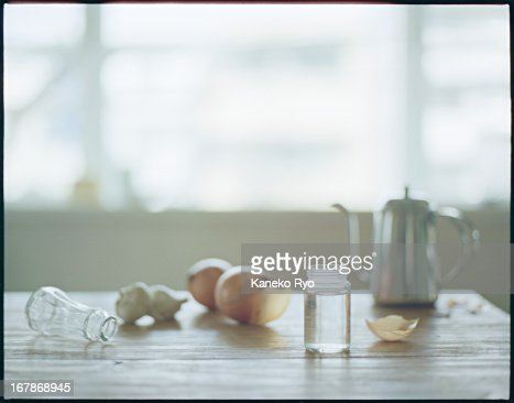 The kitchen with empty bottle
