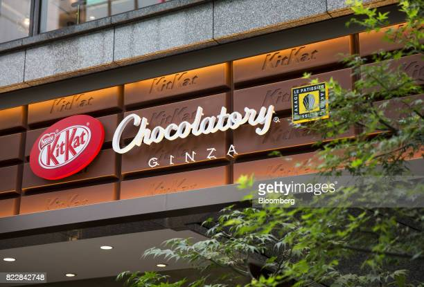 The KitKat logo is displayed at the KitKat Chocolatory Ginza store operated by Nestle SA in Tokyo Japan on Monday July 24 2017 Recent offerings in...
