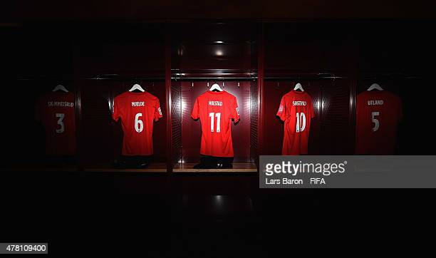 The kits of Maren Mjelde of Norway Nora Holstad Berge of Norway and Anja Sonstevold of Norway are seen in the locker room prior to the FIFA Women's...