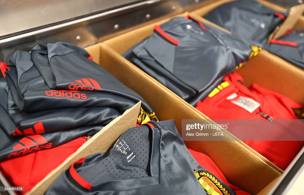 The kits worn by Belgium players are seen in the dressing room prior to the UEFA EURO 2016 quarter final match between Wales and Belgium at Stade Pierre-Mauroy on July 1, 2016 in Lille, France.