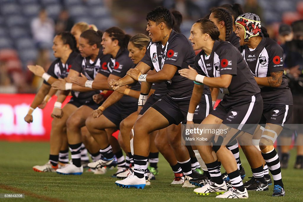 The Kiwi Ferns perform a haka before the Women's international Rugby League Test match between the Australian Jillaroos and New Zealand Kiwi Ferns at Hunter Stadium on May 6, 2016 in Newcastle, Australia.