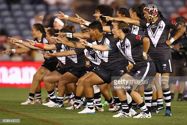 The Kiwi Ferns perform a haka before the Women's international Rugby League Test match between the Australian Jillaroos and New Zealand Kiwi Ferns at...