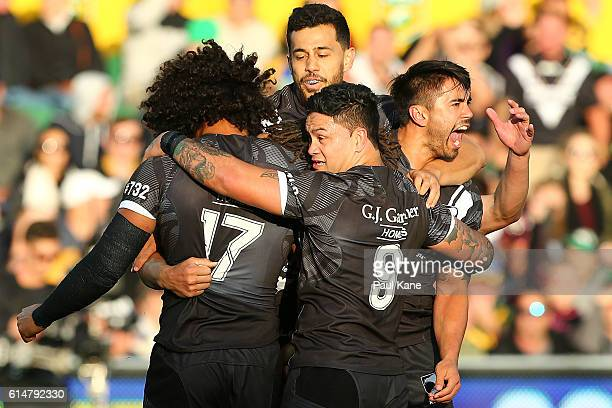The Kiwis celebrate a try by Kevin Proctor during the International Rugby League Test match between the Australian Kangaroos and the New Zealand...