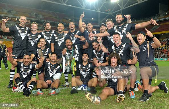 The Kiwis celebrate their victory after the TransTasman Test match between the Australia Kangaroos and the New Zealand Kiwis at Suncorp Stadium on...