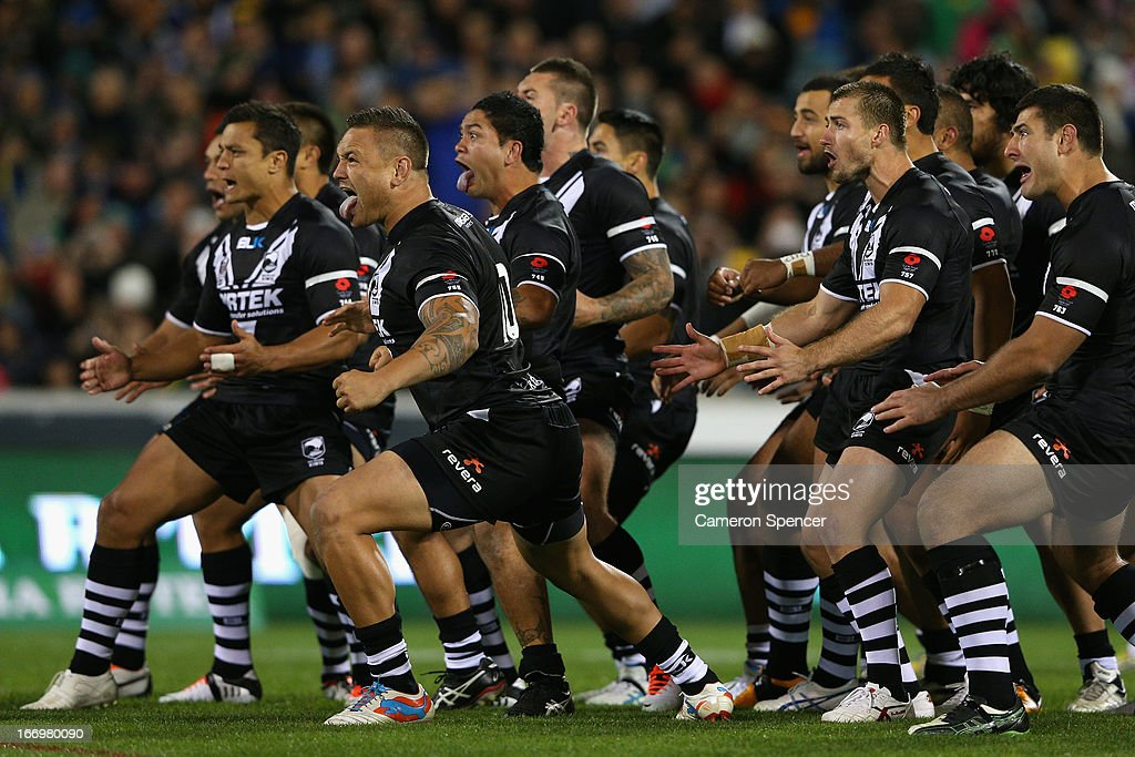 The Kiwis perform the Haka during the ANZAC Test match between the Australian Kangaroos and the New Zealand Kiwis at Canberra Stadium on April 19, 2013 in Canberra, Australia.