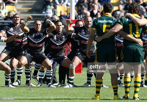 The Kiwis perform the Haka in front of the Kangaroos during the Centennial Test match between the New Zealand Kiwis and the Australian Kangaroos at...