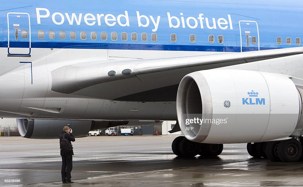 The KLM airplane which runs on biokerosene is seen at Schiphol airport near Amsterdam on November 23 2009 A Boeing 747 one of four engines powered by...