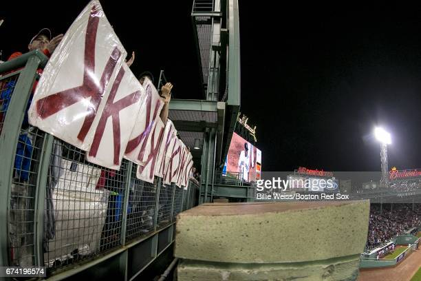 The KMen fan group hold up strikeout signs for Chris Sale of the Boston Red Sox during a game against the New York Yankees on April 27 2017 at Fenway...
