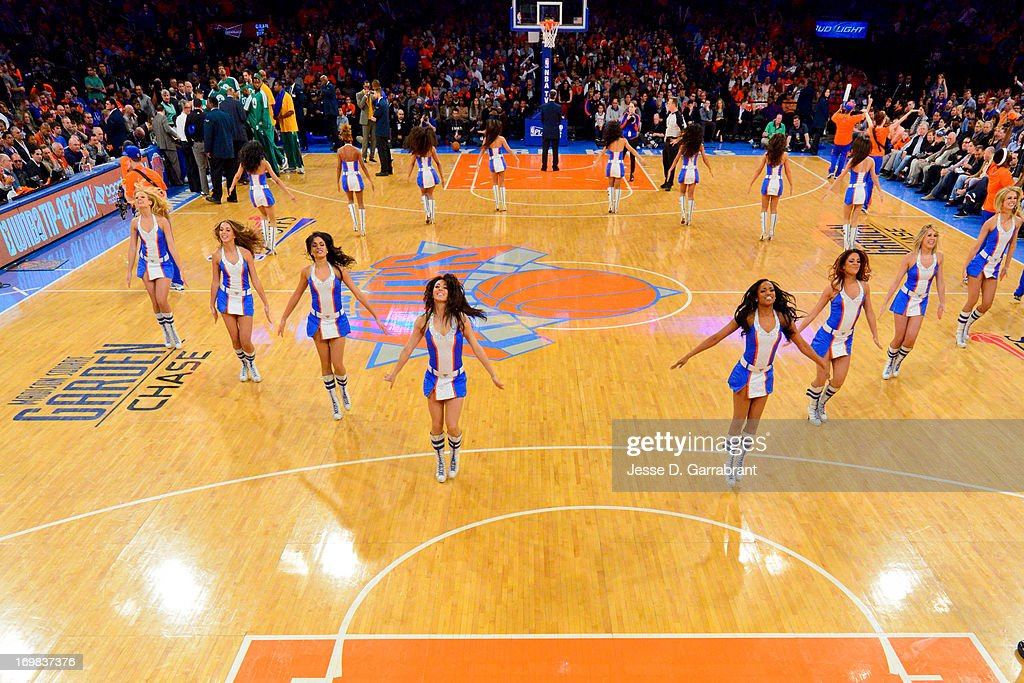 The Knicks City Dancers perform as the Boston Celtics play against the New York Knicks in Game One of the Eastern Conference Quarterfinals during the 2013 NBA Playoffs on April 20, 2013 at Madison Square Garden in New York City, New York.