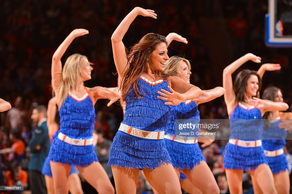The Knicks City Dancers perform as the Boston Celtics play the New York Knicks in Game One of the Eastern Conference Quarterfinals during the 2013 NBA Playoffs on April 20, 2013 at Madison Square Garden in New York City, New York.