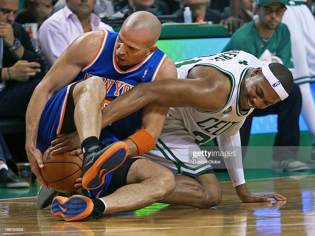 The Knicks Jason Kidd, left, and the Celtics Paul Pierce, right, battle for a second quarter loose ball that resulted in a jump ball between the two players. The Boston Celtics hosted the New York Knicks for Game Six of the NBA Eastern Conference Quarterfinals at the TD Garden.