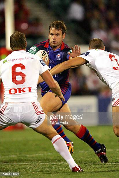 The Knights' Josh Perry in action during the Round 5 NRL rugby league match between the Newcastle Knights and St George Illawarra Dragons at WIN...