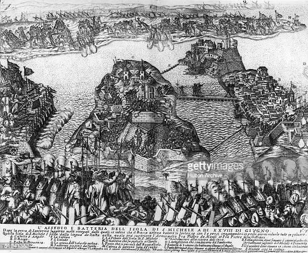 1565 The Knights of St John mass against the invading Turks at the Siege of Malta A stylised view of the army and the fortified harbours of the...