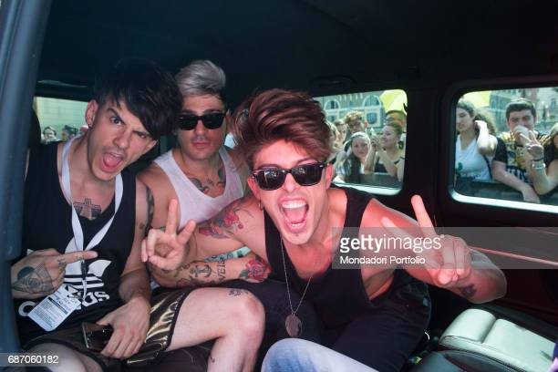 The Kolors in the minibus after the rehearsal of CocaCola Summer Festival Rome Italy 23rd June 2016